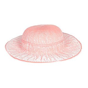 Mini girls pink floppy straw hat