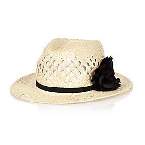 Mini girls beige fedora hat