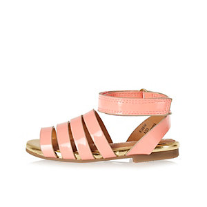 Mini girls coral wrap sandals