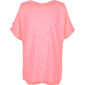 Girls fluro pink cold shoulder top