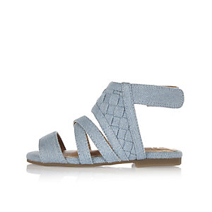 Mini girls blue lattice sandals