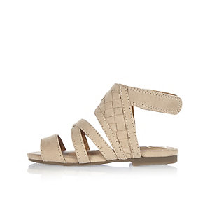 Mini girls beige lattice sandals