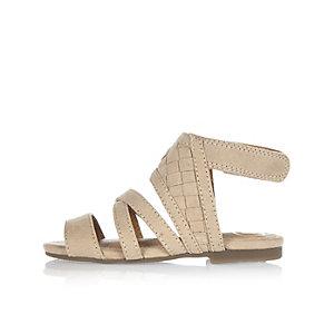 Sandales beiges à croisillons mini fille