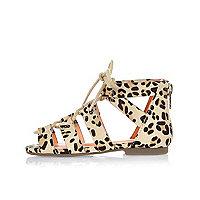 Mini girls brown leopard print sandals