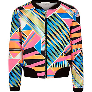 Girls pink geometric print bomber jacket