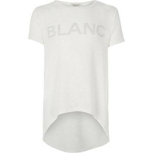 Girls cream slogan print high low t-shirt