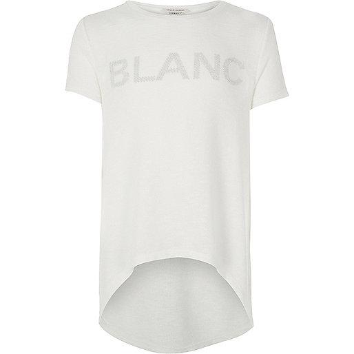 T-Shirt in Creme mit Slogan