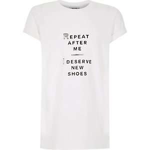 Girls white slogan print t-shirt