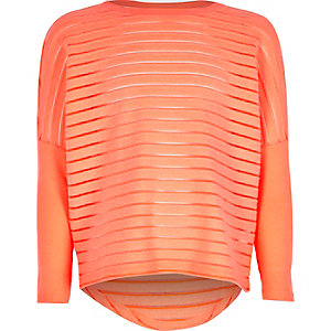 Girls coral ribbed slouchy top