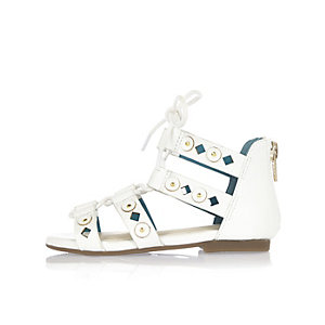 Mini girls white laser cut sandals