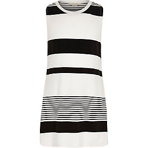 Girls white stripe longline tank top