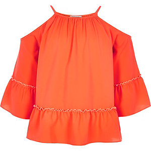 Girls red cold shoulder smock top