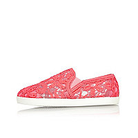 Mini girls coral lace plimsolls
