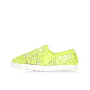 Tennis vert citron à lacets mini fille
