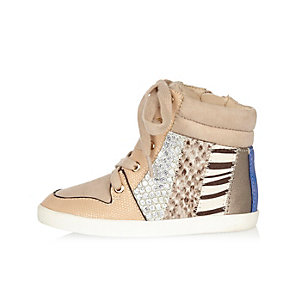 Mini girls beige printed hi tops