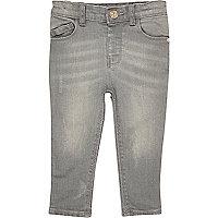 Mini girls grey washed skinny jeans
