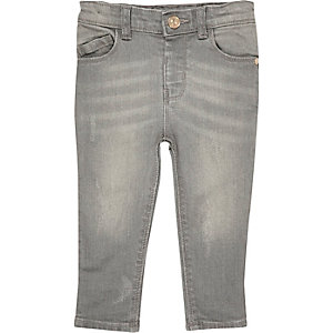 Mini girls grey washed skinny jeans