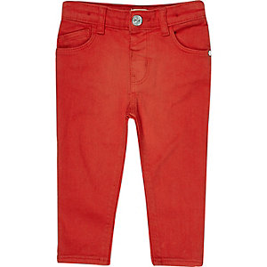 Mini girls red skinny jeans