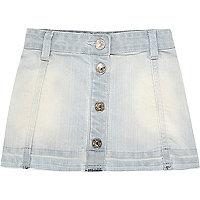 Mini girls light blue button down denim skirt