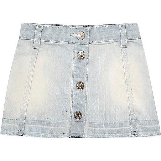 Mini girls light blue button down denim skirt