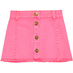 Mini girls pink button down denim skirt