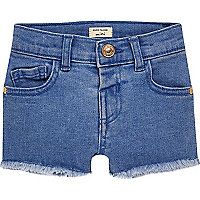 Short en jean bleu pour mini fille
