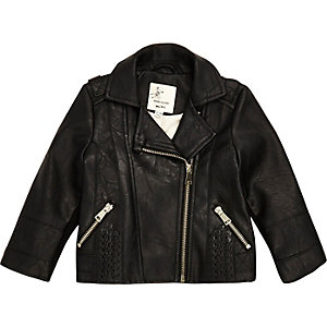 Mini girls black biker jacket