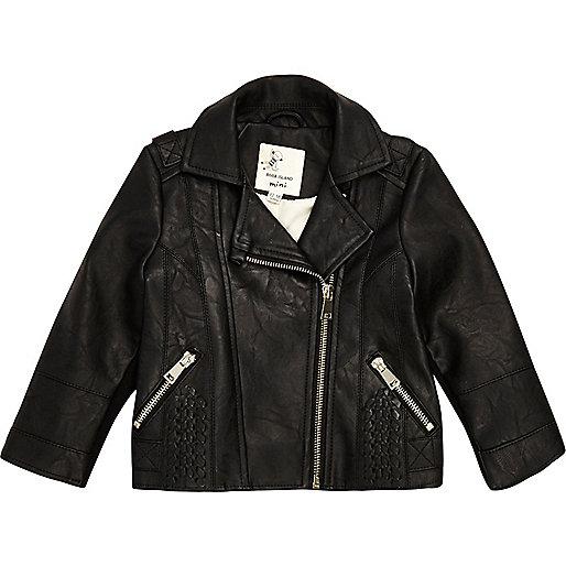 Mini girls black biker jacket