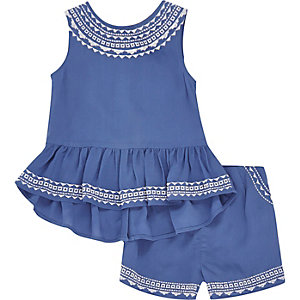 Mini girls blue Aztec top and shorts outfit