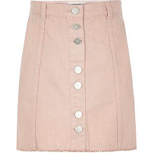 Girls light pink denim A-line skirt