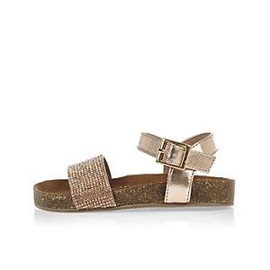Mini girls gold metallic corkbed sandals
