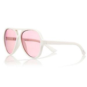 Mini girls white pilot sunglasses