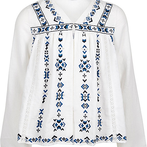 Girls white embroidered trophy jacket