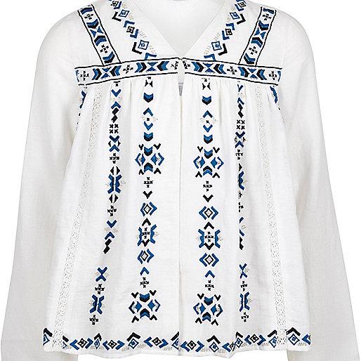 Veste blanche avec trophée brodé pour fille