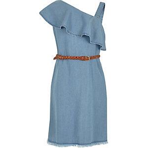 Girls light blue denim one shoulder dress