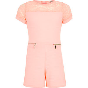 Girls pink lace romper