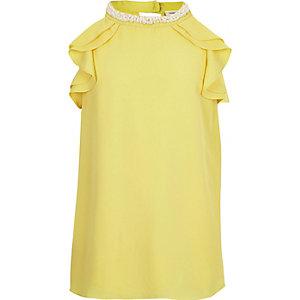 Girls yellow ruffle top