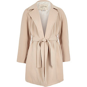 Girls beige belted trench coat