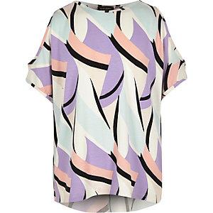 Girls purple print cold shoulder top