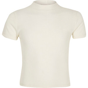 Girls cream ribbed turtle neck top