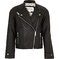 Girls black leather look biker jacket
