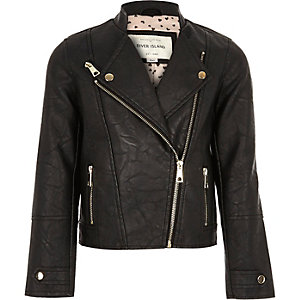 Girls black leather-look biker jacket