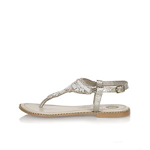 Girls gold embellished sandals