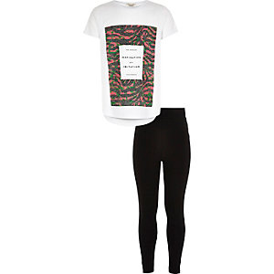 Girls white printed t-shirt leggings outfit