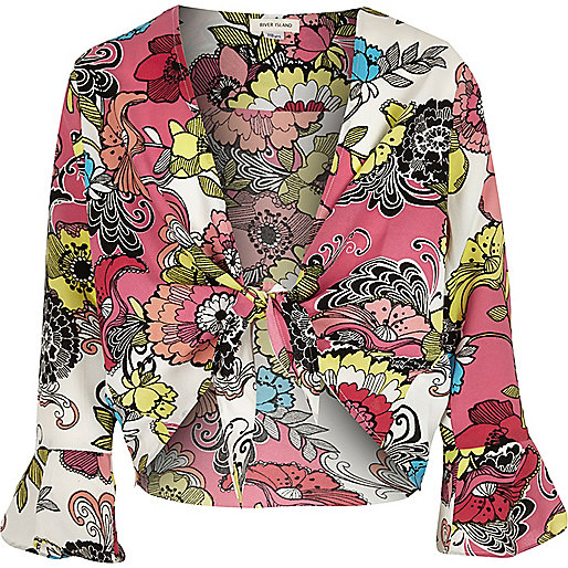 Girls red floral print cover-up