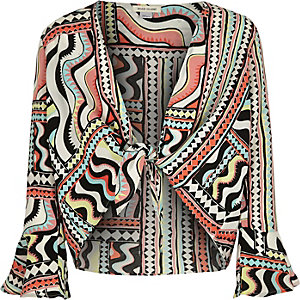 Girls red print cover-up