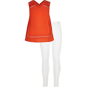 Girls red sleeveless top leggings outfit