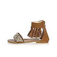 Girls tan tassel sandals