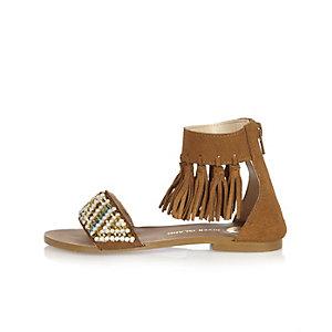 Girls tan tassel sandals