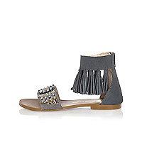 Girls blue tassel sandals